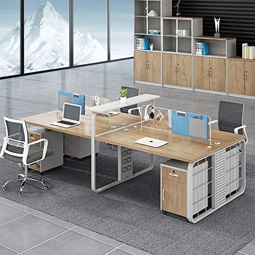 Mesa de oficina y silla combinacion Simple moderno Escritorio de oficina cuatro personas Escritorio de oficina pantalla doble Mesa(Size:3m)