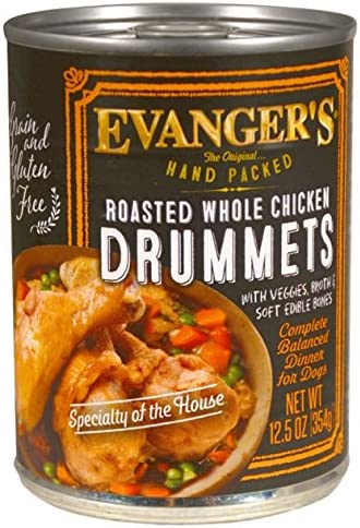 Evanger S 776140 12-Pack Hand-Packed Grain Free Roasted Chicken Drumette Dinner For Dogs, 13-Ounce