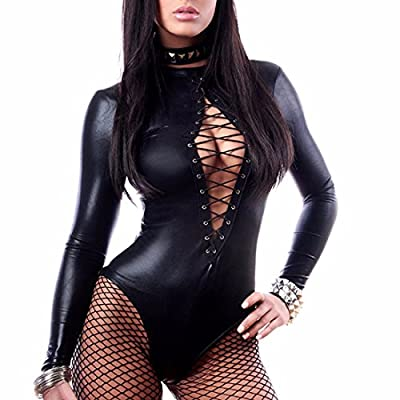YiZYiF Women's Faux Leather Bodysuit Long Sleeve Leotard Top Catsuit