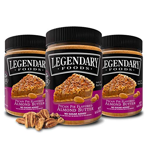 Legendary Foods | Pecan Pie Flavored Almond Nut Butter (3-16 oz Jars) | Low Carb and No Added Sugar | Healthy, Paleo, Vegan, Keto Friendly Snacks