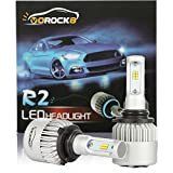 R2 CSP Seoul 9006 HB4 9006XS 8000LM LED Headlight Conversion Kit, Low beam headlamp, Fog Driving Light, HID or Halogen Head light Replacement, 6500K Xenon White, 1 Pair- 1 Year Warranty