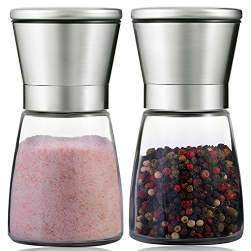 ([Upgraded] Salt And Pepper Grinder Set With Stand - Brushed and Handheld Stainless Steel Mills With Ceramic Blades & Adjustable Coarseness For Himalayan Pink Sea Salt )