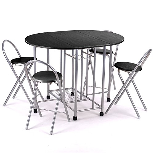 5Pcs Folding Collapsible Butterfly Dinning Table Set for 4 Person Table and Chairs Dining Dinette in Living Room Kitchen Patio (Black)