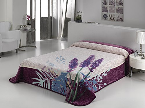 European - Made in Spain warm blanket Andalucia 220x240 Lavender Color 1 PLY by MORA Blankets