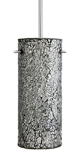 Linea di Liara Nicola Cylindrical One-Light Stem Hung Pendant Lamp, Chrome with Crackled Shimmering Smoke Glass Cylinder LL-P415-SS