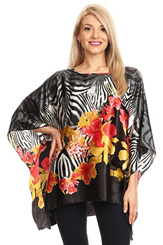 Black Zebra Wild One (Modern Kiwi Wild Floral Zebra Printed Satin Caftan Poncho Tunic Top Black One Size)
