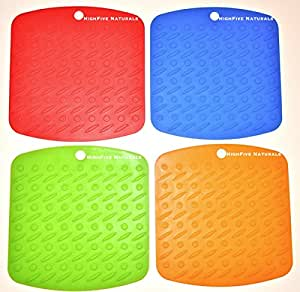 Silicone Pot Holders Premium (4) Trivet Hot Mats, Heat Resistant Pads, Non-Skid Kitchen Accessories