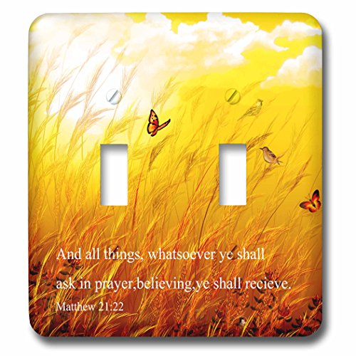 3dRose lsp_266087_2 Bible Scripture from Mathew on a Meadow with Birds and Butterflies Toggle Switch, Mixed