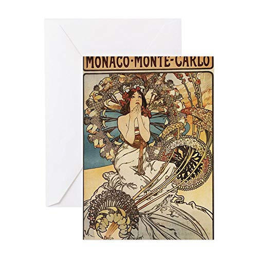 CafePress Woman Dressed In Feathers Art Nouveau Greeting C Greeting Card, Note Card, Birthday Card, Blank Inside Matte
