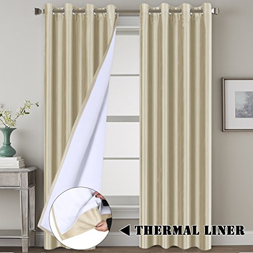 - H.VERSAILTEX Blackout Living Room Curtains Premium Luxury and Durable Faux Silk Lined Curtain Panels Thermal Insulated Window Drapes, Extra Long Size 52x108 - Inch/Nickel Grommet, Beige