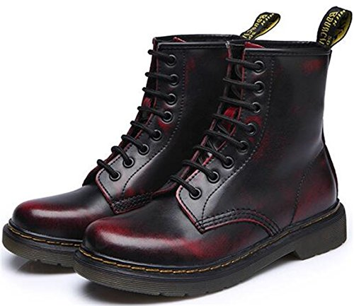 Ankle up Lace Women's Boots Retro Red DADAWEN Iq4TwOI