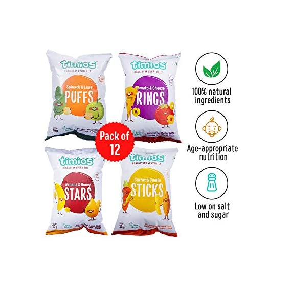 Timios Snacks Mix Flavours Pack of 12 | Banana and Honey -3, Carrot and Cumin -3, Tomato and Cheese -3 and Spinach and Lime -3 | Healthy Snack for Kids
