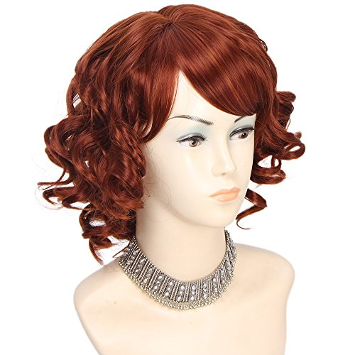AISI HAIR Wig Short Curly Wavy Wig Red Bob Wigs With Bangs 4R425 Heat Resistant Fiber Hair Full Synthetic Body Wave Wigs for Women