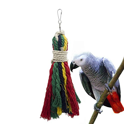 ASOCEA Pet Bird Parrot Colorful Cotton Rope Bite Chew Cage Hanging Toys for Cockatiels Macaws Parrots Small Medium Large Birds