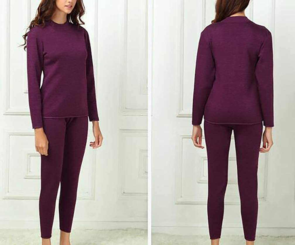 YVWTUC Womens Velvet Thermal Underwear Sets Thickening Middle-Aged Suit