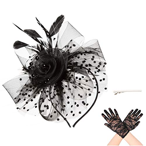 (SAFERIN Fascinator Hat Black Feather Mesh Net Veil Party Hat Flower Derby Hat with Clip and Hairband for Women with Lace Glove (TA7-Black with)