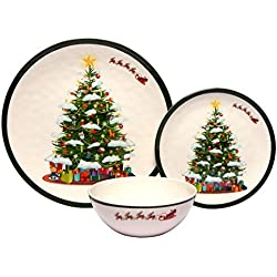 Melange 12-Piece 100% Melamine Dinnerware Set (Christmas Tree Collection ) | Shatter-Proof and Chip-Resistant Melamine Plates and Bowls | Dinner Plate, Salad Plate & Soup Bowl (4 Each)