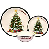 Melange 12-Piece 100% Melamine Dinnerware Set (Christmas Tree Collection) | Shatter-Proof and Chip-Resistant Melamine Plates and Bowls | Dinner Plate, Salad Plate & Soup Bowl (4 Each)