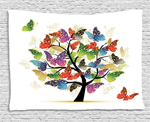 Ambesonne Tree of Life Decor Collection, Shaded Butterfly Moth Tree Colored Wings Flying New Life Theme Illustration Hope Home, Bedroom Living Room Dorm Wall Hanging Tapestry, 80W X 60L Inch, Multi