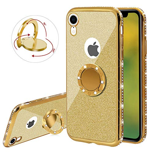 (YiCTe Glitter Case for iPhone Xr [Not for iPhone X/Xs],Luxury Bling Diamond Sparkle Rhinestone Plating Cover with 360 Degree Ring Kickstand Shockproof Ultra Thin Soft TPU Silicone Case,Gold)