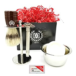 Men Grooming Shaving kit High Quality Stainless Steel Complete set DE safety Razor with Shaving Brush Soap and Mug