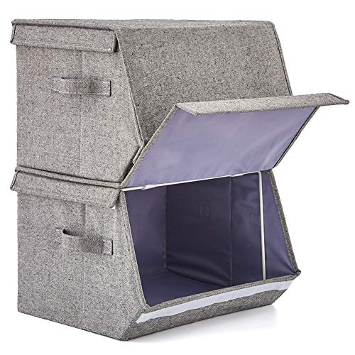 Above Office Sets - [2 Pack] Stackable Storage Bins with Lids and Handles, EZOWare Linen Fabric Foldable Storage Cubes Bin Box Containers for Home, Office, Nursery, Closet, Bedroom, Living Room