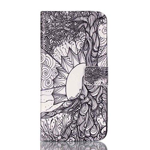 PowerQ Multi buntes Muster Serie PU-Kunstleder Fall Hülle Holster Case < Tree of Life | für IPhone 5S 5 5G SE IPhone5S IPhoneSE >           mit schönen hübschen Muster Druck Detailzeichnung Geldbörse Tasche Han