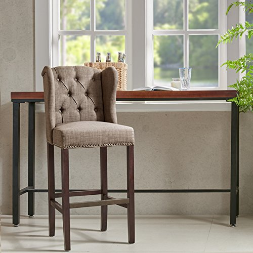 Madison Park Lydia Taupe Tufted Wing 30-Inch Bar Stool, Made From 100-Percent Polyester
