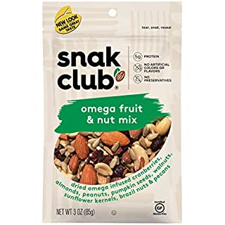 Snak Club All Natural Omega Fruit & Nut Mix, Non-GMO, 3.25-Ounces, 6-Pack