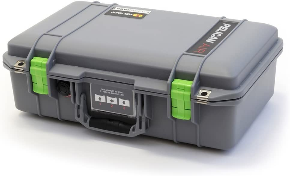 Silver /& Lime Green Pelican 1485 Air case with Yellow dividers.