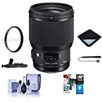 Sigma 85mm f/1.4 DG HSM ART Lens for Sigma DSLRs - Bundle With 86mm UV Filter, Lens Wrap, Cleaning Kit, LensPen Lens Cleaner, Capleash II, Software Package
