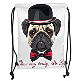 Custom Printed Drawstring Sack Backpacks Bags,Pug,Sketch Style Hipster Dog Frowning Sad Face Pure Bred Top Hat and a Bow Tie Mr Pug,Black Red CreamSoft Satin,5 Liter Capacity,Adjustable String Closur
