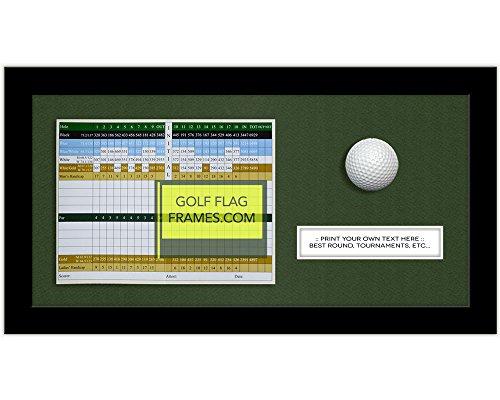 8x16 Black Scorecard,Text & Golf Ball Frame, Moulding blk-004 Shadowbox, Green Mat (holds up to 6x8 golf scorecard; card & ball not included)