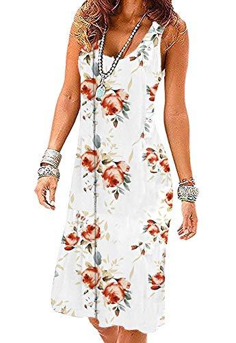 Akihoo Women Summer Pleated Polka Dot oose Swing Casual Midi Pleated Dress YH3-Flower White Rose L