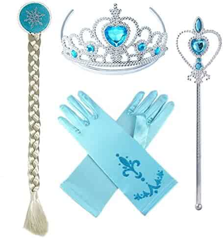Princess Elsa Dress up Party Accessories Blue Favors 4 Pcs Gifts Set - Gloves Tiara Wig and Wand