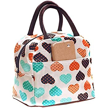DOOPOOTOO Cute Love Heart Lunch Bag Tote Bag Lunch Organizer Lunch Holder Lunch Container (Pink)
