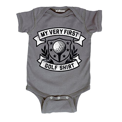 First Golf Shirt -Infant One Piece-6M Charcoal