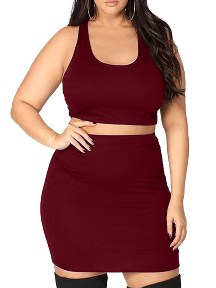 LAGSHIAN Women's Plus Size Two Piece Outfits Sexy Bodycon Party Mini Dresses Wine Red by LAGSHIAN (Image #1)