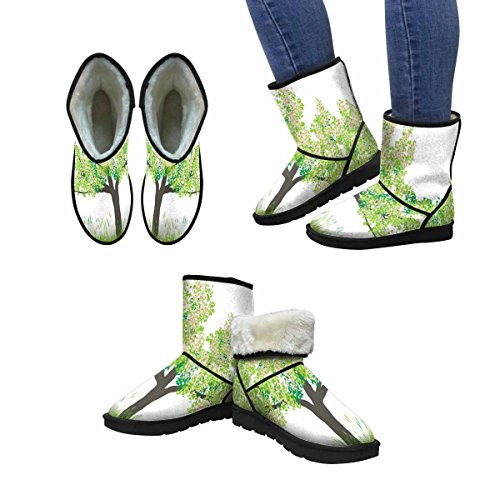InterestPrint Womens Snow Boots Cherry Tree In Spring Unique Designed Comfort Winter Boots Multi 1 TqeQPkMX3a
