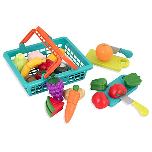 Battat - Farmers Market Basket - Toy Kitchen Accessories - Pretend Cutting Play Food Set for Toddlers 3 Years + (37-Pcs)