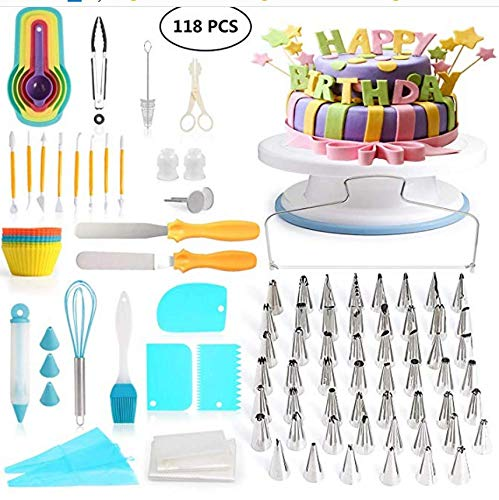 100 PCS SPECIAL CAKE DECORATING KIT With 55 PCS Numbered Icing Tips, Cake Rotating Turntable,
