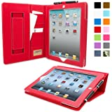 Snugg Leather Card Slots Case for Apple iPad 2 - Red