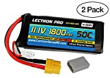 (2 Pack) Lectron Pro 11.1V 1800mAh 50C Lipo Battery with XT60 Connector + CSRC Adapter for XT60 Batteries to Popular RC Vehicles for FPV Racing Drones and 1/18 Vehicles