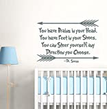 Dr Seuss Quotes Wall Decals You Have Brains In Your Head Wall Decal Quote Vinyl Sticker Nursery Wall Decor Baby Kids Nursery Wall Decals F54