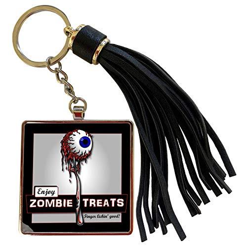 3dRose Mark Grace ZOMBIE SURVIVORS Treats - ZOMBIES zombie treats 1 on black - Tassel Key Chain (tkc_25575_1)