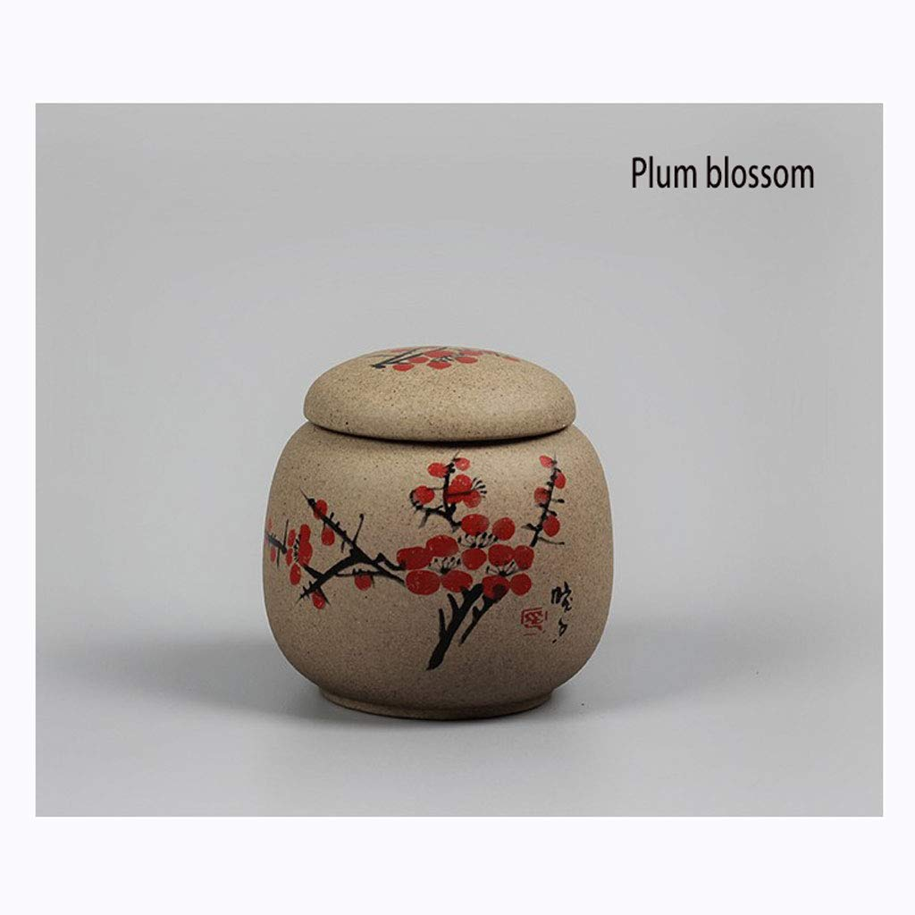 Plum blossom WLDD Ashes Simple Dog Pet Stout Urn Jar Special Ash Jar For Small Animal Souvenir Cat Or Dog Pet Casket, Animal Coffin, Integrated Dualuse, Cat And Dog Death Souvenir, Handmade Ceramic, Sealed, Moist