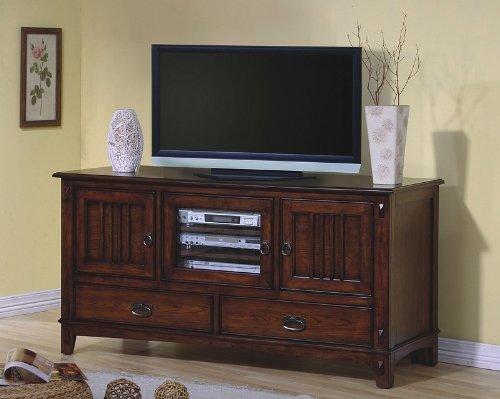 - Mission Style Oak Finish LCD / Plasma Flat Panel TV Stand