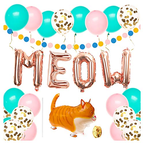 Cat Birthday Party Supplies, Kitty Birthday Party Decorations, Meow Balloons, 30pcs Latex Balloons, Balloon Ribbon, Cat balloon, Polka Dot Garland and Cat Pet Birthday Decors (Cats Meow Birthday)