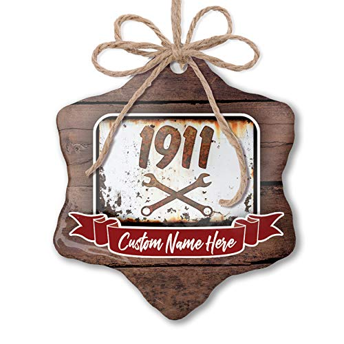 ily Ornament Rusty Old Look car 1911 Personalized Name ()