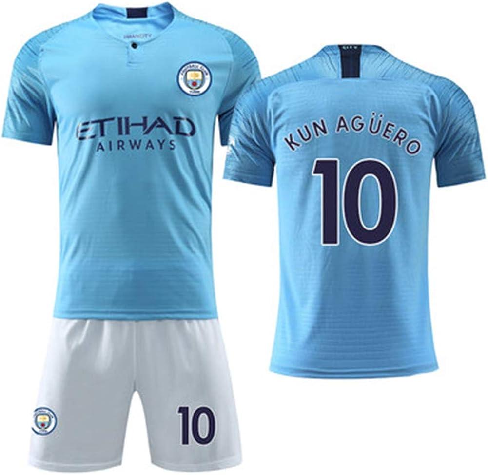 LIUJING Manchester City Trikot 2018//19 Saison 10 Aguero Fu/ßballbekleidung Anzug m/ännliches Kind Erwachsener 3XS-2XL